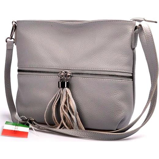 3c431cb8e192a MADE IN ITALY Postino 166 jasnoszara włoska torebka skórzana listonoszka  szary Skorzana.com ...