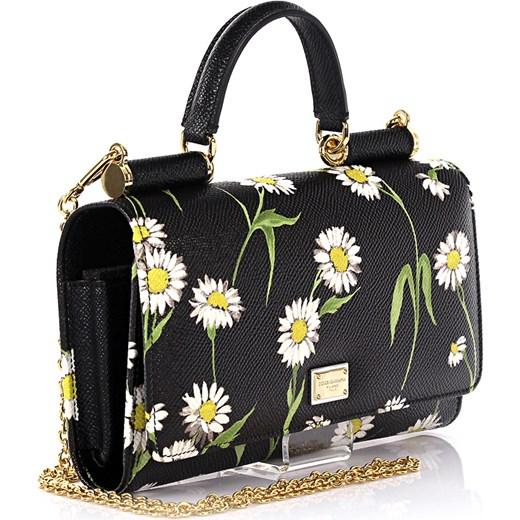 5da345b4fa736 Dolce & Gabbana Kobiety Torebka na ramię skórzana czarna fakturowana z  kwiatowym wzorem Dolce & Gabbana ...