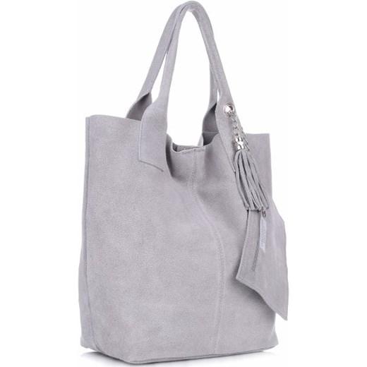a9a30f8d55d59 Shopperbag Skóra naturalna Zamszowa Genuine Leather Jasno Szara torbs.pl