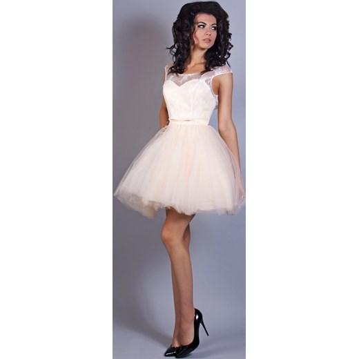 789a1f50 Tiulowa sukienka w kolorze ecri Model:PW-1962 PW-1962 M&M Studio Mody