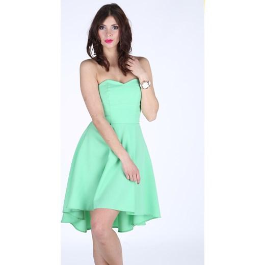 22c1165994 ... Sukienka koktajlowa z wydłużonym tyłem mietowy Mał-woj 42 ptakmoda.com