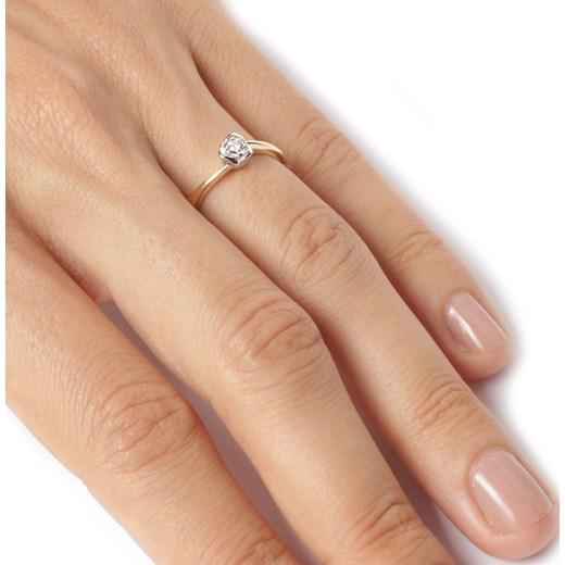 Złoty Pierścionek Zaręczynowy 585 Brylant 003 Ct Róża Viadem W Domodi
