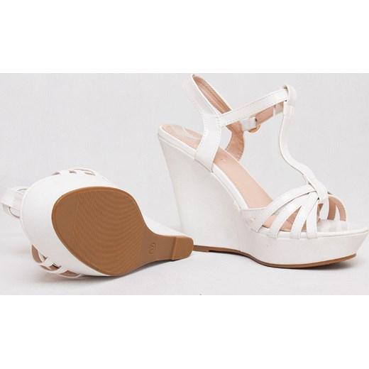 6545a0b497c50 ... Białe sandały na koturnie /A5-3 AB80 S234/ brazowy 36 pantofelek24.pl  ...