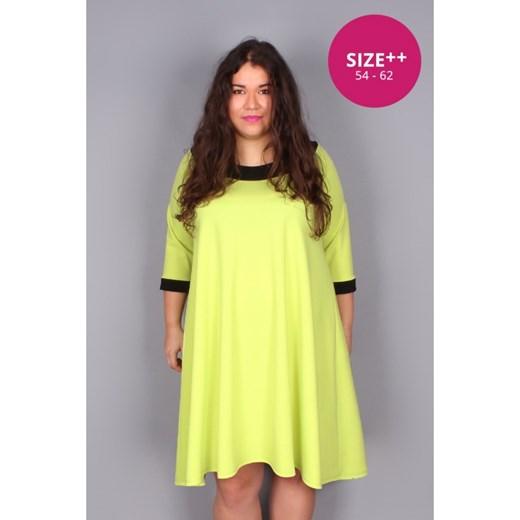 cbacb770a3ff2b Trapezowa limonkowa sukienka SIZE++ zolty by 20inlove?by 20inlove 60/62  20inlove.pl ...
