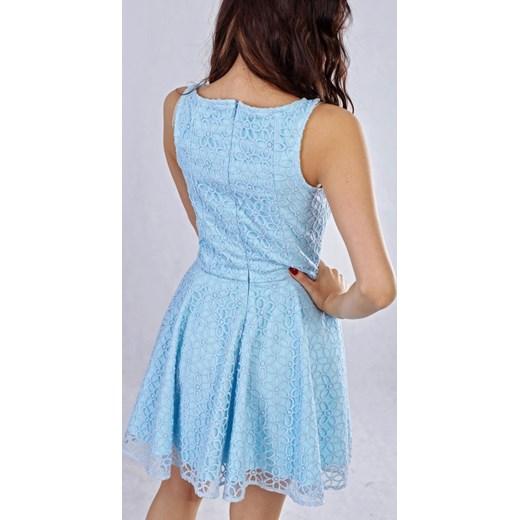 5a95ce1645 ... Milena Płatek Ekskluzywna rozkloszowana koronkowa mini sukienka MP98  RÓŻNE KOLORY Milena Płatek niebieski 40 ArkanyMody ...