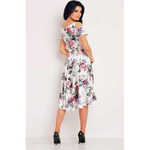 adeda70d91 ... INFINITE-YOU Asymetryczna sukienka w kwiaty - odkryte ramiona M104 wzór  róże Infinite You 42