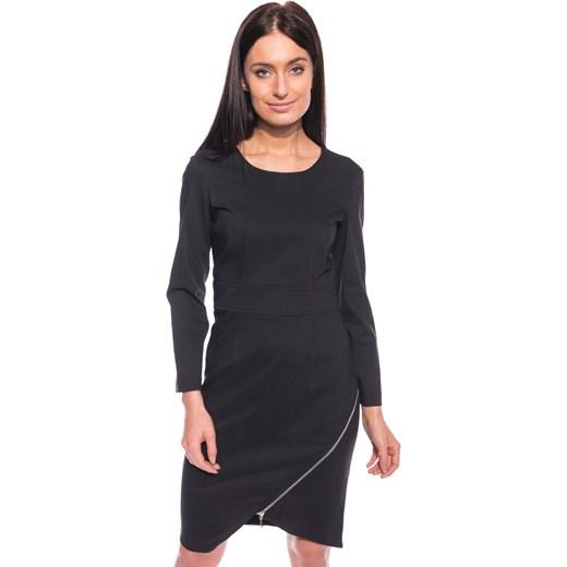 6fc012f1 Czarna sukienka z zamkiem Bialcon szary bialcon.pl