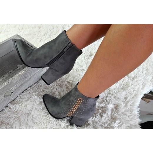 Zamszowe botki buty na obcasie ac32 p szare Zdjęcie na imgED