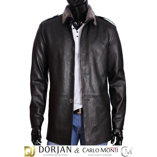 01be5d78b5b72 Płaszcz skórzany męski DORJAN BILK950 czarny dopasowane w Domodi