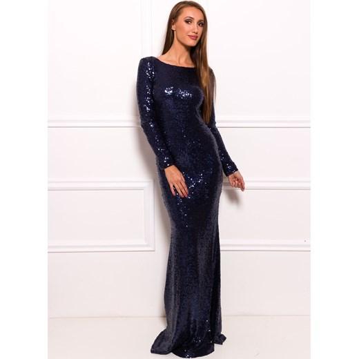 6d259dfb09b Společenské luxusní dlouhé šaty s flitry a rukávy - tmavě modrá Glamadise  ...