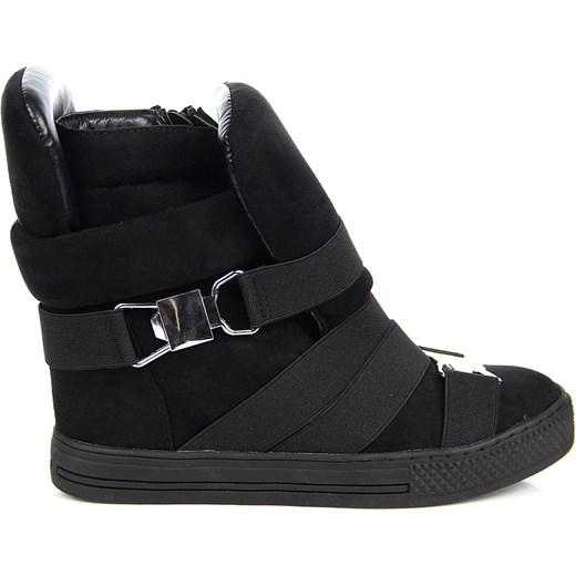 0eaec0bfac627 Czarne sneakersy damskie na koturnie gumy Lu Boo Lu Boo 38 wyprzedaż  ButyRaj.pl ...
