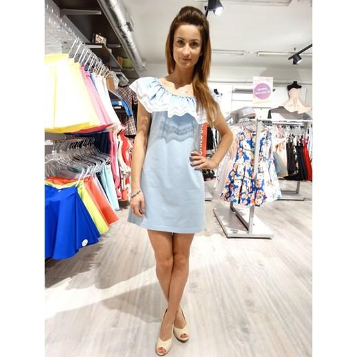 a29c642088 sukienka MC HISZPANKA KORONKA błękitna - BŁĘKIT bezowy UNIWERSALNE  wyprzedaż EllaButik.pl ...