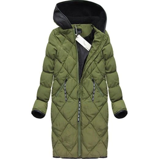 pikowany płaszcz zimowy midi