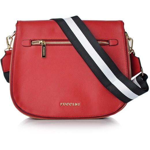 5ef4b843844d9 Fashion Collection torebka na szerokim pasku Puccini czerwony Royal Point