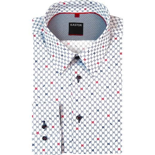 33e11cce2ff63b Biała koszula męska w granatowo-czerwone kwiatki K10 Kastor szary Modini w  Domodi