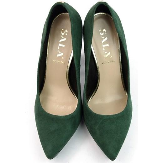buty zamszowe damskie czółenka butelkowa zieleń
