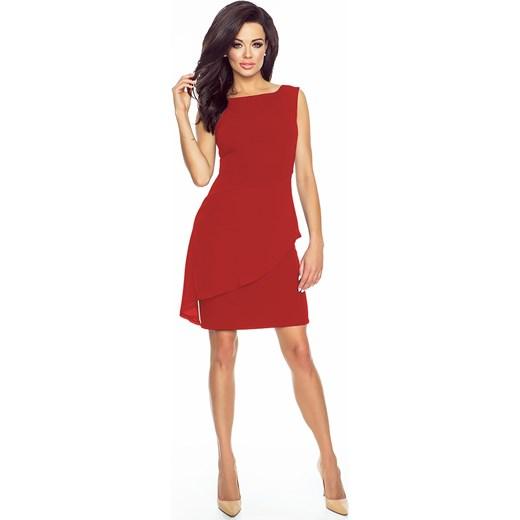 e25ab1b118 Sukienka z asymetryczną baskinką KM186-1 czerwony Kartes Moda 44 (XXL)  karteS- ...