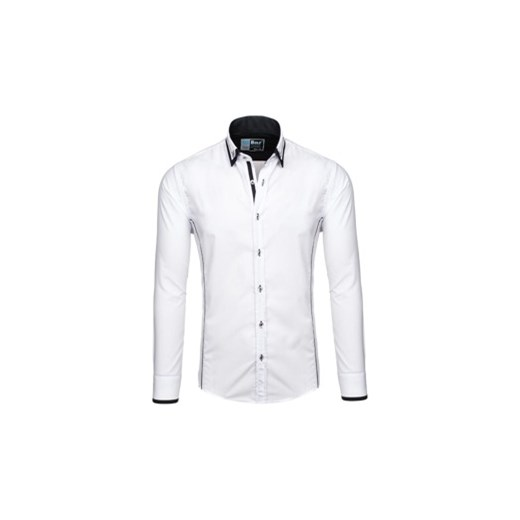 cdc35d3eb4defb Biało-czarna koszula męska elegancka z długim rękawem Bolf 4720 Denley.pl w  Domodi