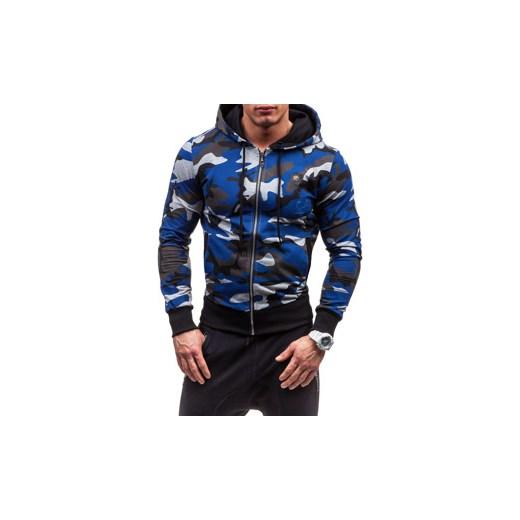 Moro niebieska bluza męska z kapturem Denley 2104 J.Style Denley.pl