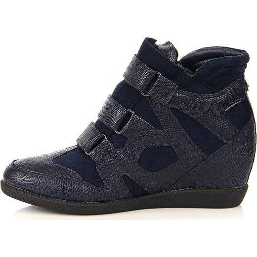 ee76f0a7f3fc ... Granatowe sneakersy damskie na koturnie wężowe Monnari Monnari 40  wyprzedaż ButyRaj.pl ...
