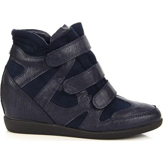 6c7234fba19b ... Granatowe sneakersy damskie na koturnie wężowe Monnari Monnari 39  promocja ButyRaj.pl ...