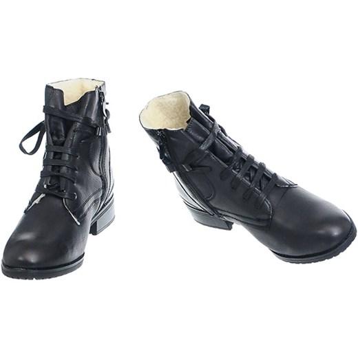 OCIEPLANE BOTKI DAMSKIE Family Shoes Buty Damskie QL czarny