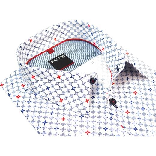 c584367267d1 Biała koszula męska w granatowo-czerwone kwiatki K10 Kastor szary Modini