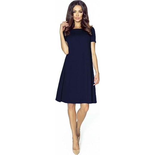 ce973f0692 Granatowa Sukienka Trapezowa Midi z Krótkim Rękawem Kartes Moda czarny XS-S  Molly.pl