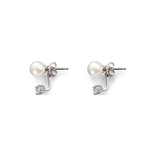 189c64de9deb85 Srebrne kolczyki sztyfty z białą perłą jądra muszli i cyrkonią* Tchibo w  Domodi