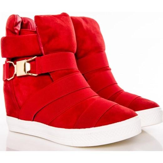 408fb19cb0e505 Czerwone Sneakersy - Sporotowe Botki Modne Gumki czerwony Wilady w Domodi