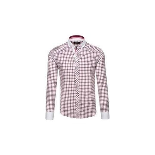 781d0ff78ecf58 Bordowa koszula męska elegancka w kratę z długim rękawem Bolf 6959  Denley.pl XL okazja ...