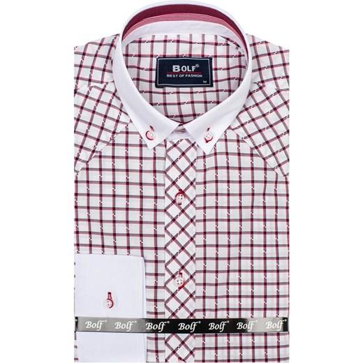 1e49d6215d1028 ... Bordowa koszula męska elegancka w kratę z długim rękawem Bolf 6959  Denley.pl M wyprzedaż ...