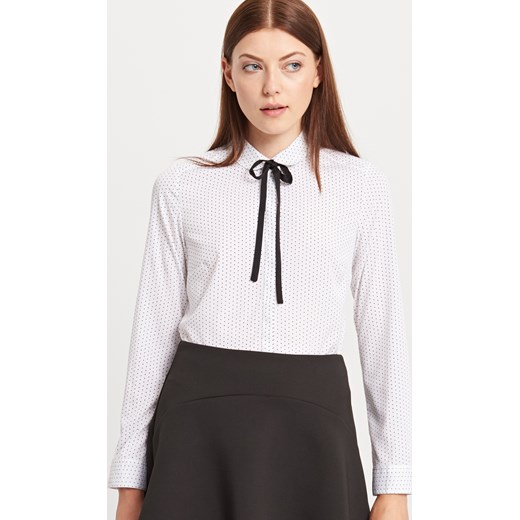 Reserved - Koszula z wiązaniem przy szyi - Kremowy - damska Reserved bialy  42 ... acaba6f4c6