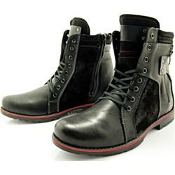 810d64f49ec93 KENT 237 CZARNY+WELUR - Wysokie męskie buty zimowe ze skóry WYPRZEDAŻ