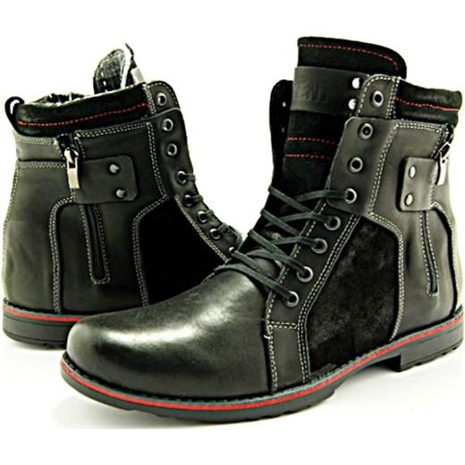 ff8e3e8da5e23d KENT 237 CZARNY+WELUR - Wysokie męskie buty zimowe ze skóry WYPRZEDAŻ sklep- obuwniczy-kent szary skóra w Domodi