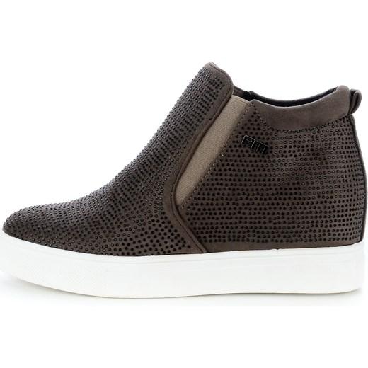 Brązowe sportowe buty z koralikami Primamoda Botki damskie brązowe w Primamoda
