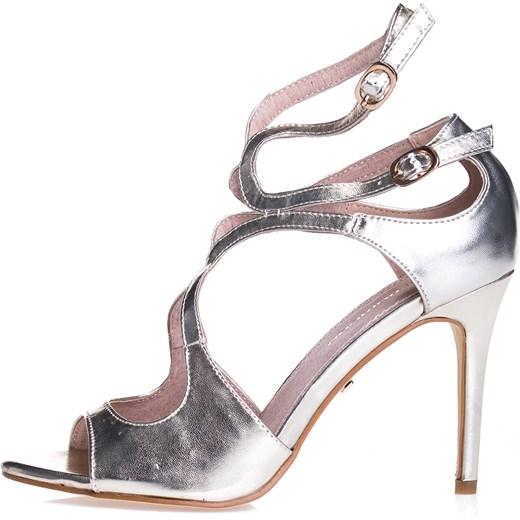 27e246808328b Platynowe sandały z paseczkami bialy Primamoda w Domodi