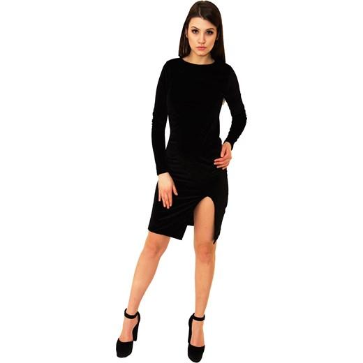 39d4a1ca86c6 Sukienka Ola Black - czarna welurowa z rozcięciem na udzie czarny Belzoni  S M okazyjna ...