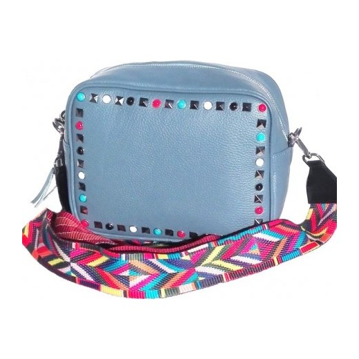 d749ed337d9aa Skórzana średnia torebka a'la Valentino z kolorowym paskiem HIT brudny  błękit Vera Pelle niebieski