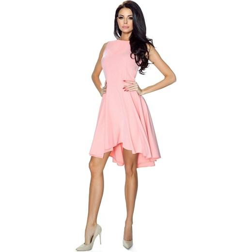 6313363ce8298 Tymena - zwiewna sukienka z przedłużonym tyłem i dopasowaną górą (pastelowy  róż) rozowy XL ...