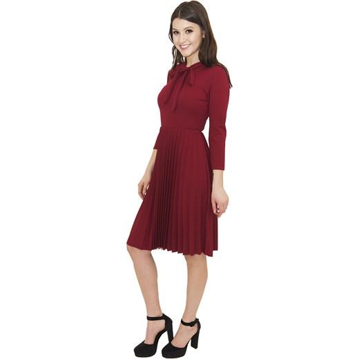 1d86e7a166 Sukienka Claudia Livia Burgundy - bordowa elegancka z kokardą Belzoni  uniwersalny ...