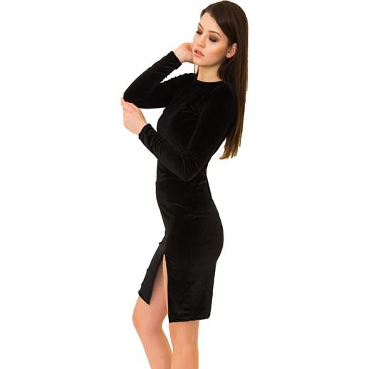 1818c8df4c88 Sukienka Ola Black - czarna welurowa z rozcięciem na udzie czarny Belzoni
