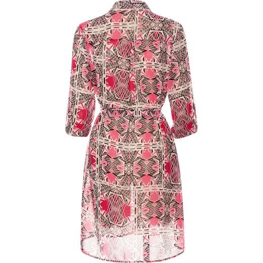 7719781480 Sukienka koszulowa długa koszula szyfonowa rozowy Divine Wear w Domodi