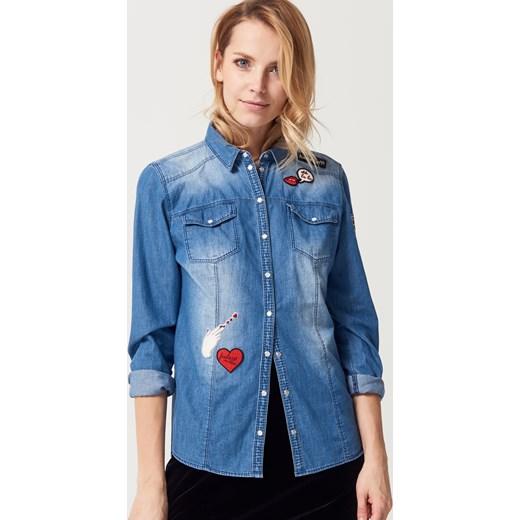 Mohito Jeansowa koszula z naszywkami Niebieski w Domodi  VxftW