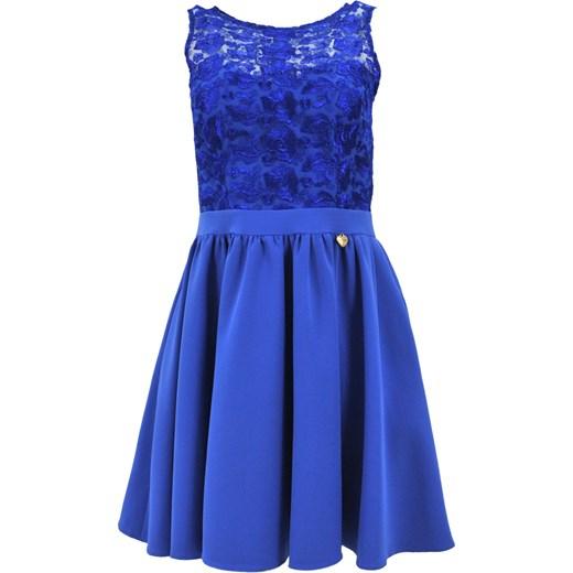 2d734236c0 Sukienka rozkloszowana z koronką i kieszeniami (chabrowa) niebieski eStilex
