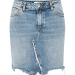 Mid blue acid wash raw hem denim skirt