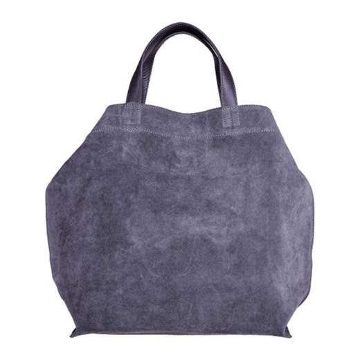 b7833e272142e ... Bardzo duża skórzana zamszowa torebka shopper bag szara Vera Pelle  niebieski melon.com.pl ...