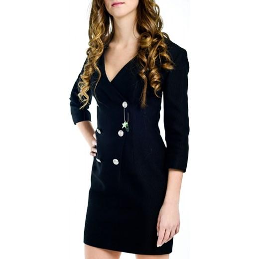 2b8c39f121cccc Czarna sukienka mini z ozdobnymi guzikami Pierre Balmain czarny  viadellaspiga.pl w Domodi