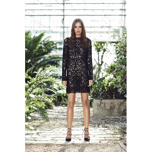 Najnowsze ZAQUAD Sukienka mini z czarnej koronki zielony fashionality.pl w BL91