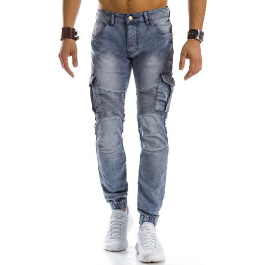 1a948cd4ac47bb Spodnie jeansowe joggery męskie szare (ux0866) niebieski Dstreet w ...
